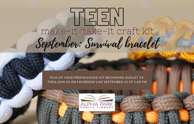 Teen Take it/Make it. Come get your prepackaged kit, and join us Nov 14th to learn how to make it.