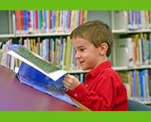 Child Reading, includes a link to Youth services page,  http://www.alphapark.org/youthservices.html