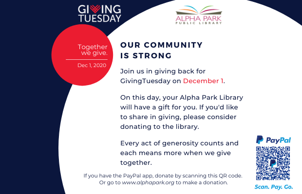 Giving Tuesday is December 1st. Please consider making a donation.